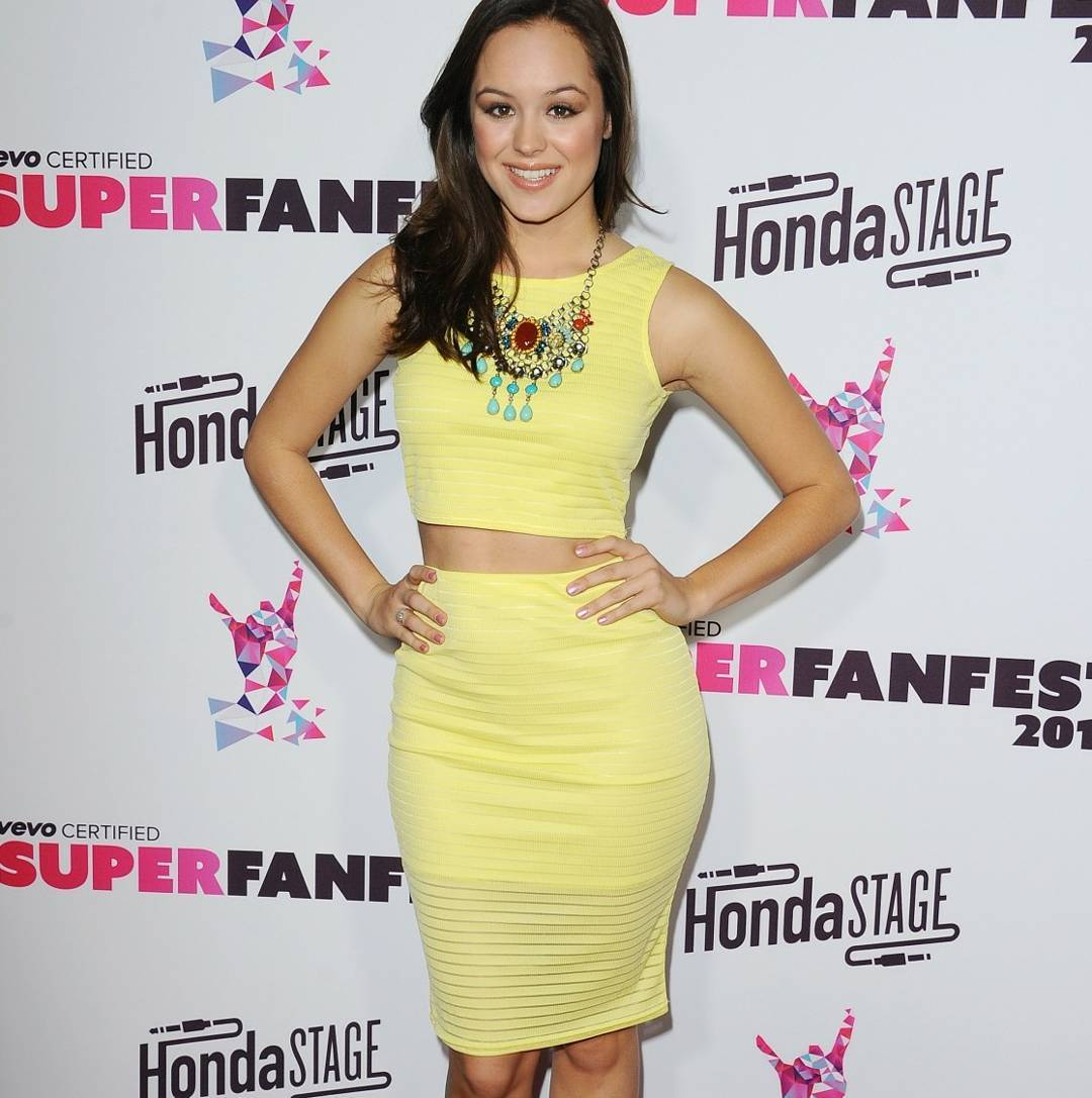 Hayley Orrantia Looks Hot in Yellow Outfit