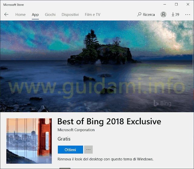 Microsoft Store pagina download tema Best of Bing 2018 Exclusive