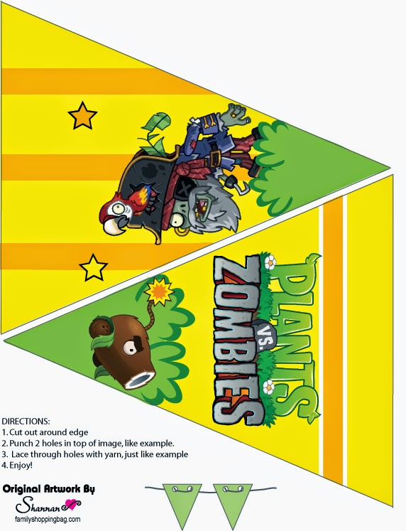 plantas vs zombies free printable bunting oh my fiesta in english. Black Bedroom Furniture Sets. Home Design Ideas