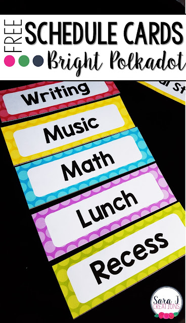 FREE Schedule Cards with a fun polkadot theme. Perfect classroom decor for your elementary classroom!