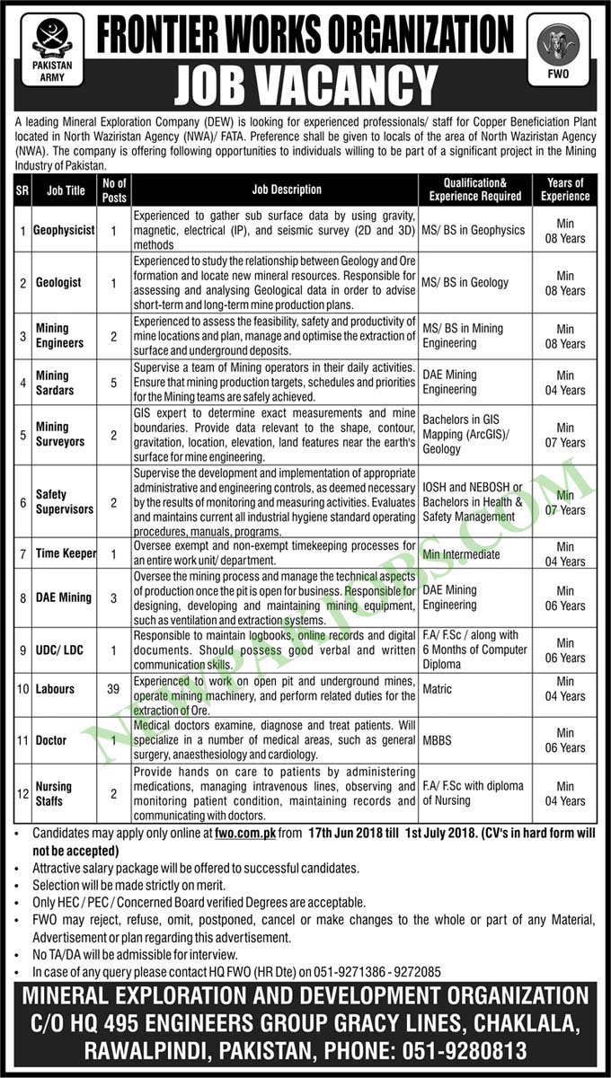 Frontier Works Organization Latest Jobs for June 2018