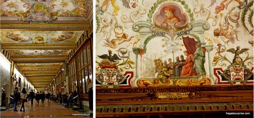 Corredores da Galleria degli Uffizi, em Florença