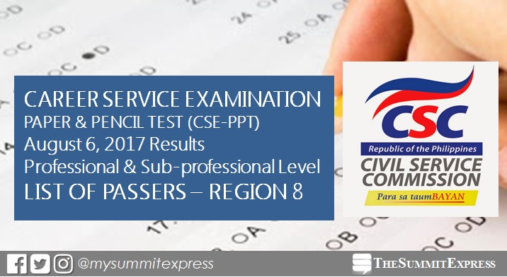 Region 8 Passers: August 2017 Civil Service Exam Results (CSE-PPT)