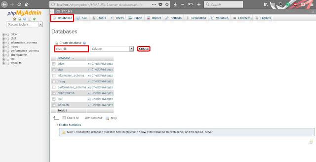 how to create database using phpmyadmin