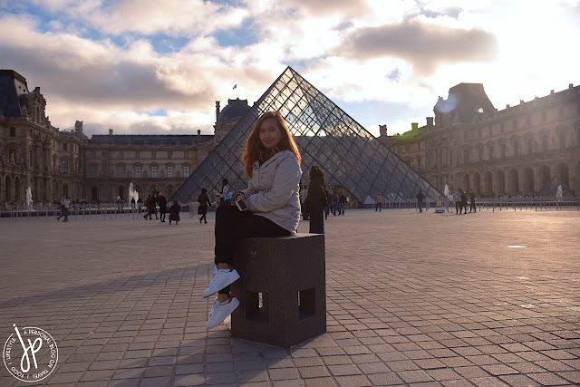 woman, louvre pyramid, sunrise