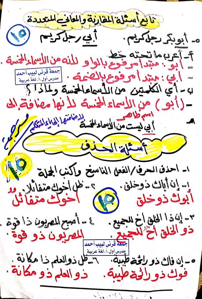 مراجعة اللغة العربية للصف السادس الابتدائي ترم ثاني أ/ جمعة قرني لبيب 15