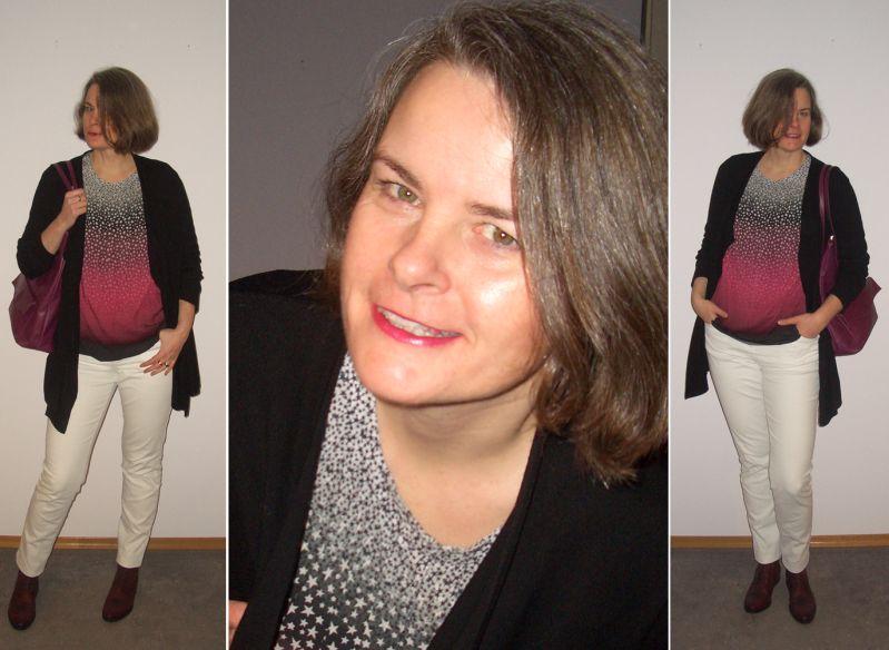 Tunika mit Farbverlauf zur weißen Jeans kombiniert
