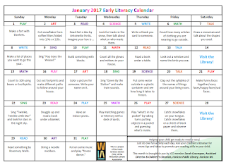 January Early Literacy Calendar