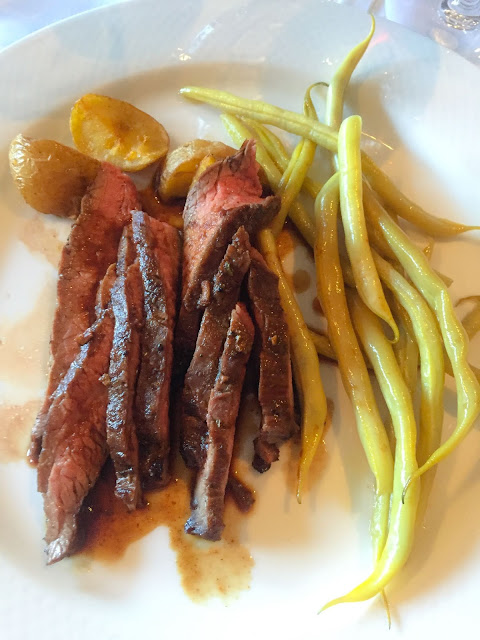Skirt steak with Yukon gold potatoes and wax beans at Oliveto. Photo by Nicole Ruiz Hudson.