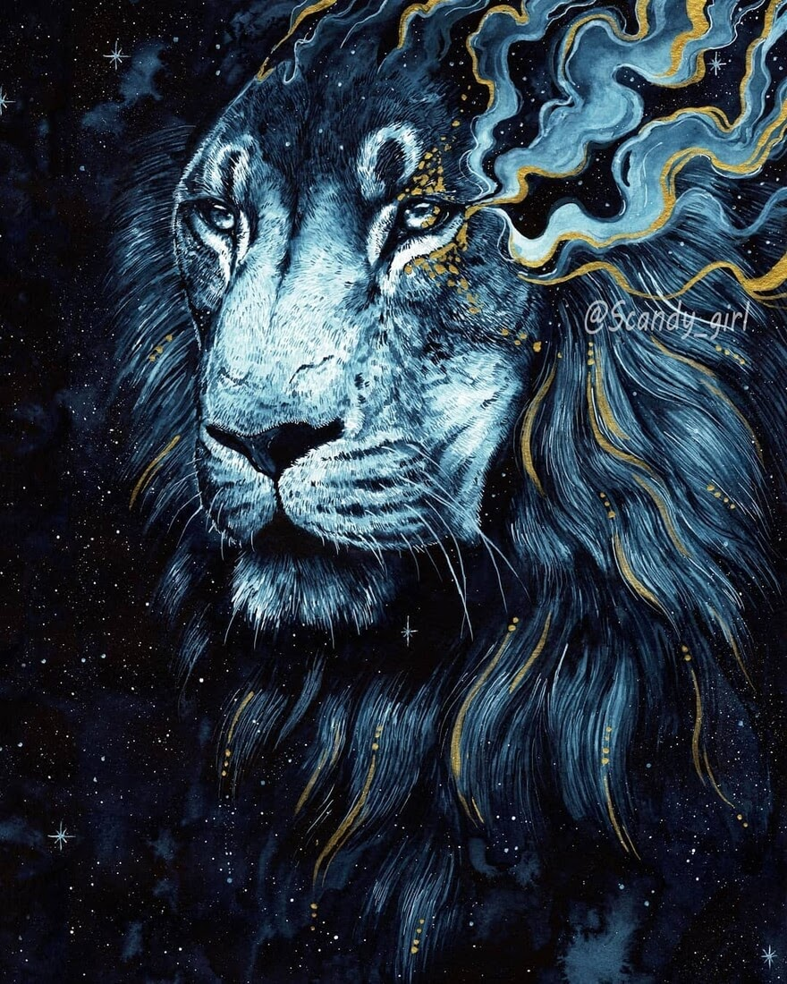 02-Lion-Jonna-Hyttinen-Blue-and-Gold-Fantasy-Animal-Watercolor-Paintings-www-designstack-co