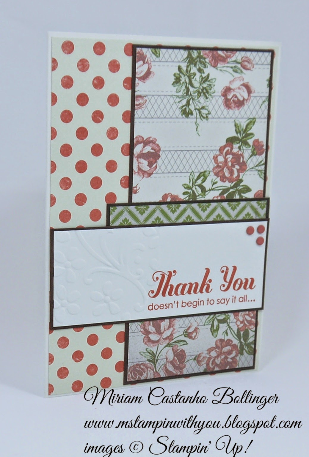 Miriam Castanho Bollinger, #mstampinwithyou, stampin up, demonstrator, sc, thank you, lots of thanks, afternoon picnic dsp, elegant bouquet tief, su
