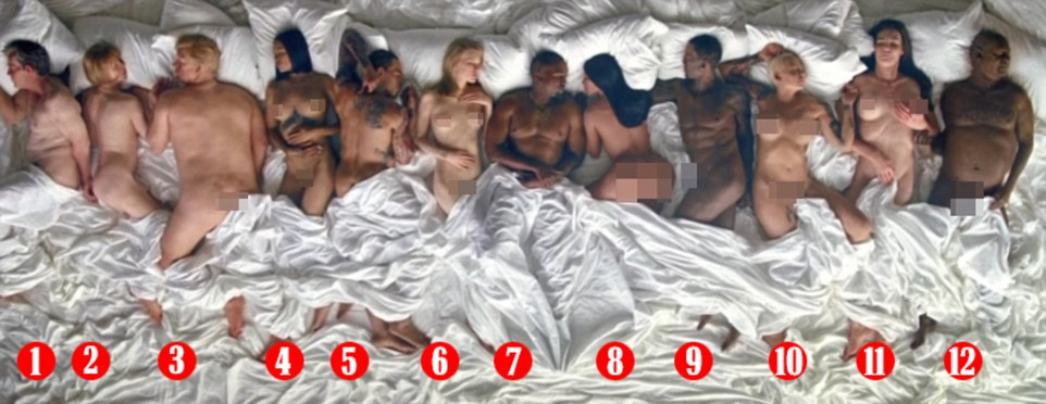 Kanye's new video features an orgy of naked celebrities