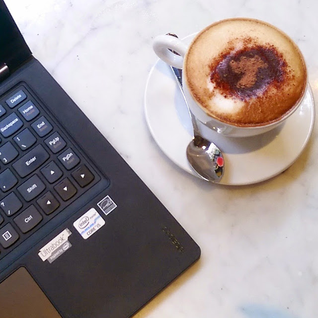 Coffee laptop social media productivity
