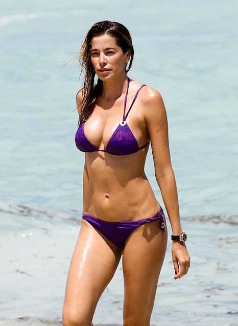 Aida Yespica in Purple Bikini at the beach in Miami