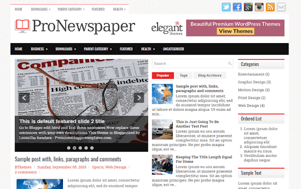 ProNewspaper Free Blogger Template