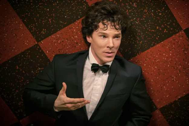 Benedict Cumberbatch as Sherlock Holmes in a tuxedo in BBC Sherlock Season 3 Episode 1 The Empty Hearse