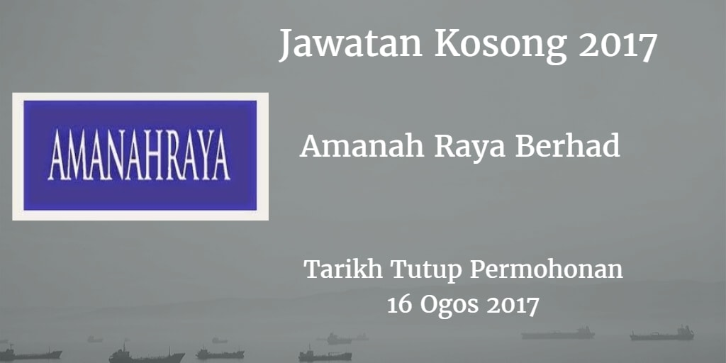 Jawatan Kosong Amanah Raya Berhad 16 Ogos 2017