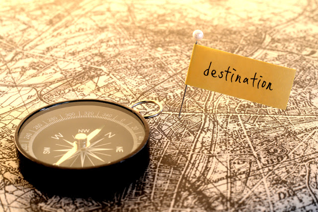 Compass on map for Iceland road trip to plan itinerary