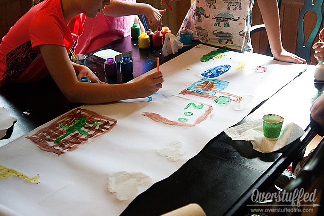 Activity idea for a book club to discuss The One and Only Ivan: Finger painting a zoo