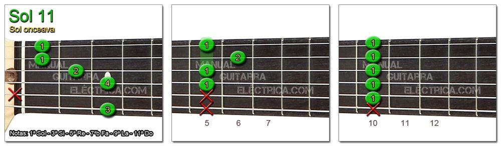 Acordes Guitarra Sol Onceava - G 11