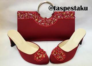 Slop Sepatu Sandal Pesta Merah Maroon Bisa Buat Acara Resepsi Nikahan