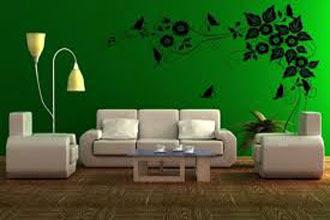 warna cat ruang tamu 2 warna dengan wallpaper dinding hijau