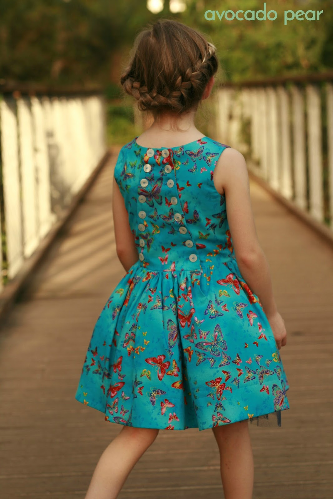 button back dress girls butterflies