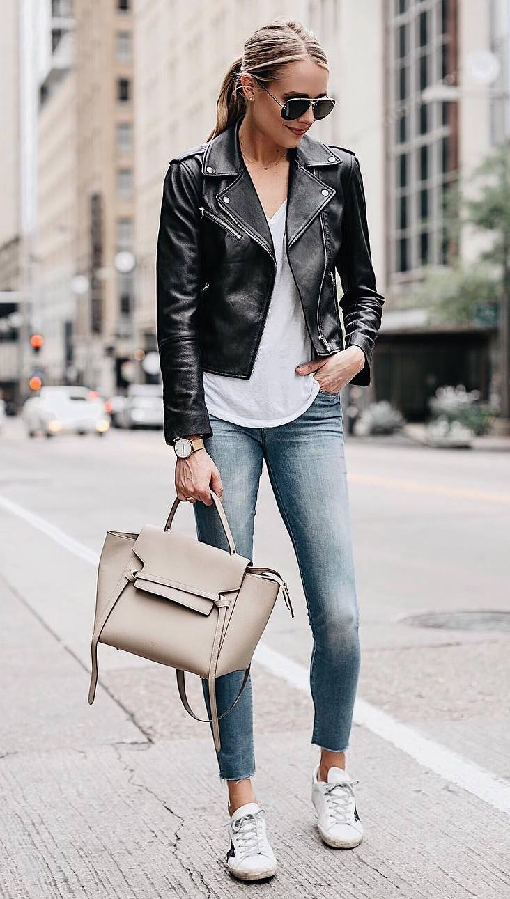 how to style a moto jacket : bag + white tee + sneakers + skinny jeans