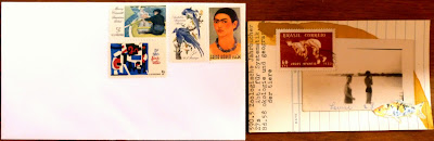 postage stamp vintage photo library card Fluxus mail art collage