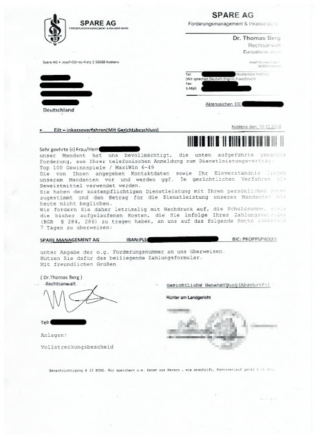 Scan: Spare AG Forderungsmanagement & Inkasso Büro / Seite 1
