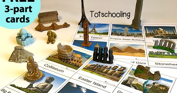 World Landmarks 3 Part Cards And Matching With Safari Toob