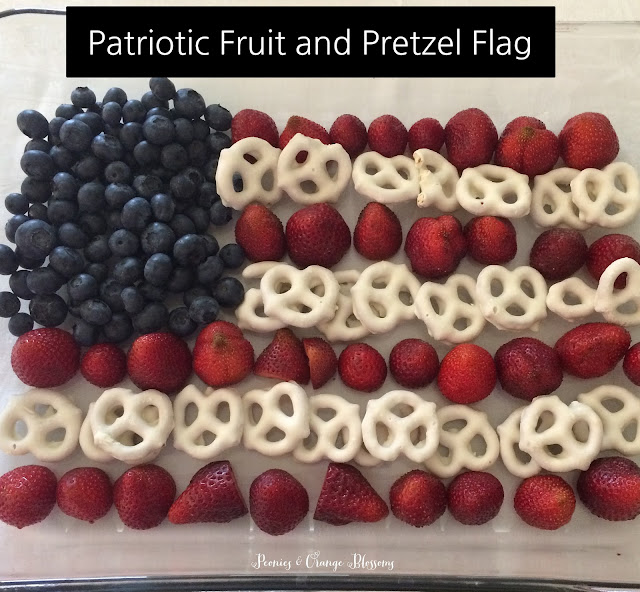 4th of July fruit and pretzel flag