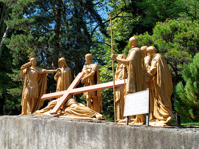 Way of the Cross Station IX Jesus falls the third time under the weight of the cross