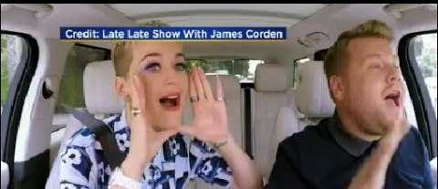 Katy Perry during Carpool Karaoke with James Corden