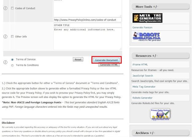 Jika Sudah, Sobat geser kebawah kemudian klik Generate Document.