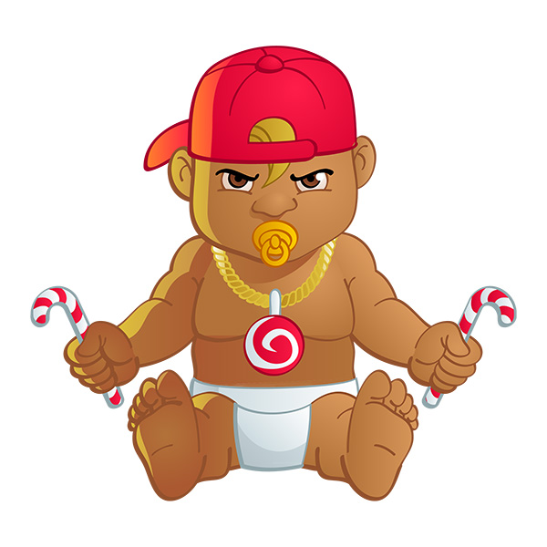 cute baby candy dj mascot design