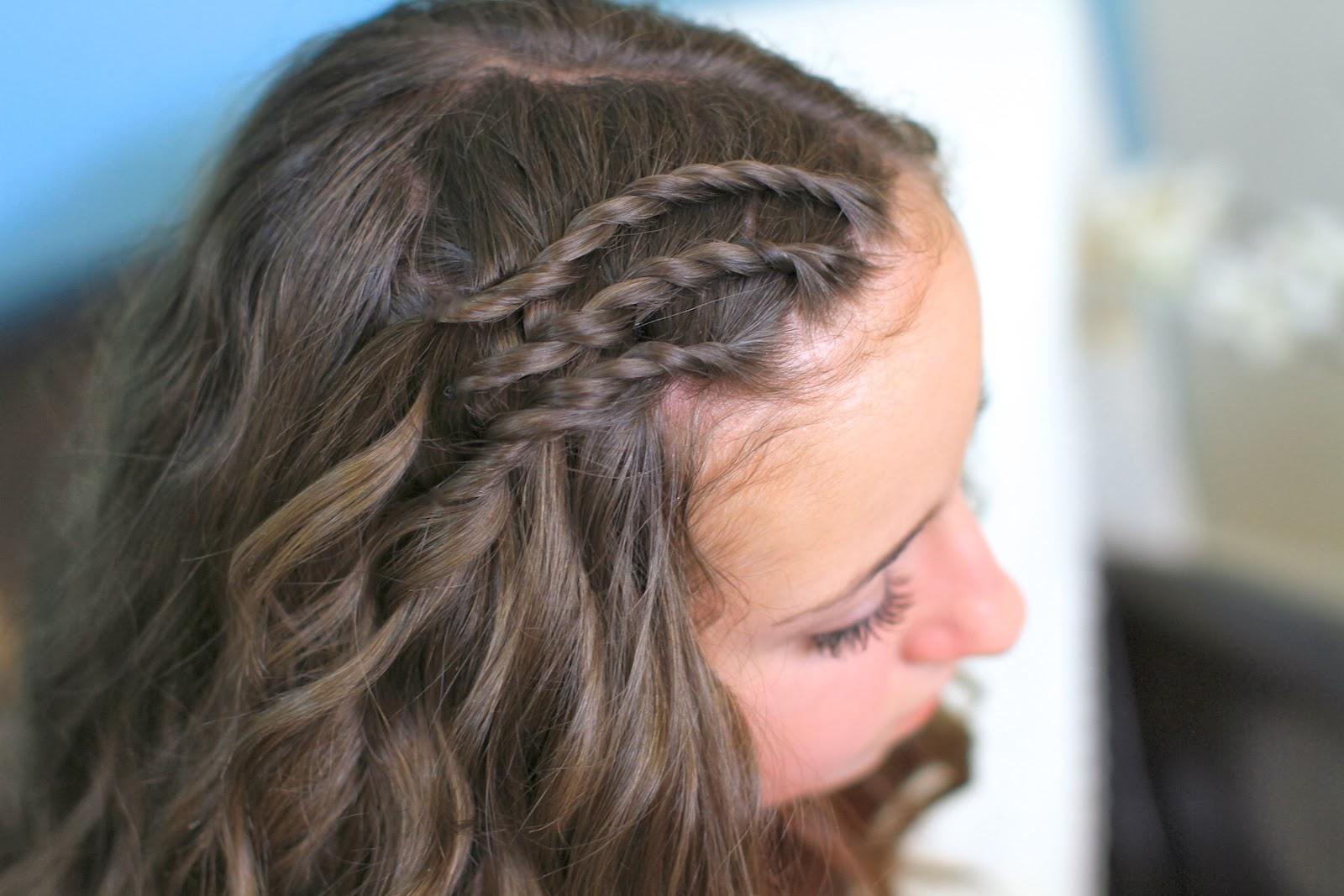 Women Fashion Updates: Triple Lace Side Twists Hairstyle