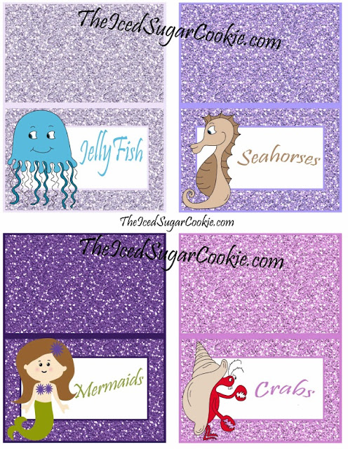DIY Glitter Mermaid Food Label Tent Cards Birthday Party-Printable Template digital download Jellyfish seahorses mermaids crabs