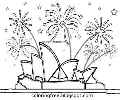 Sydney harbor printable New Year rocket pyrotechnics Australian display firework coloring pictures