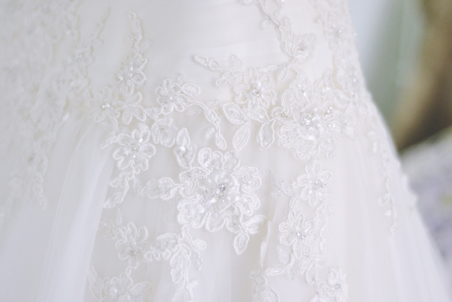 Close up wedding dress photo