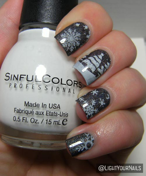 Winter scenery nail art feat. bornprettystore holo and BP-01 stamping plate