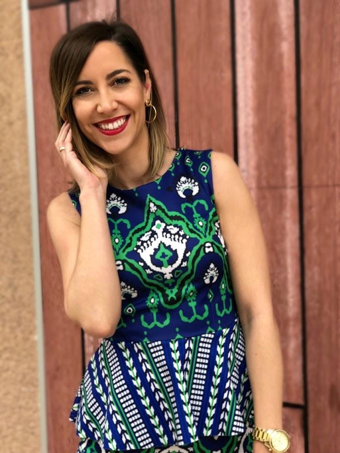 Fitness And Chicness-Vestido estamapado azul y verde-Vestido y Tacon-3