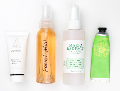 carry on travel essentials beauty must have moisturiser face facial mist mario badescu l'occitane hand cream
