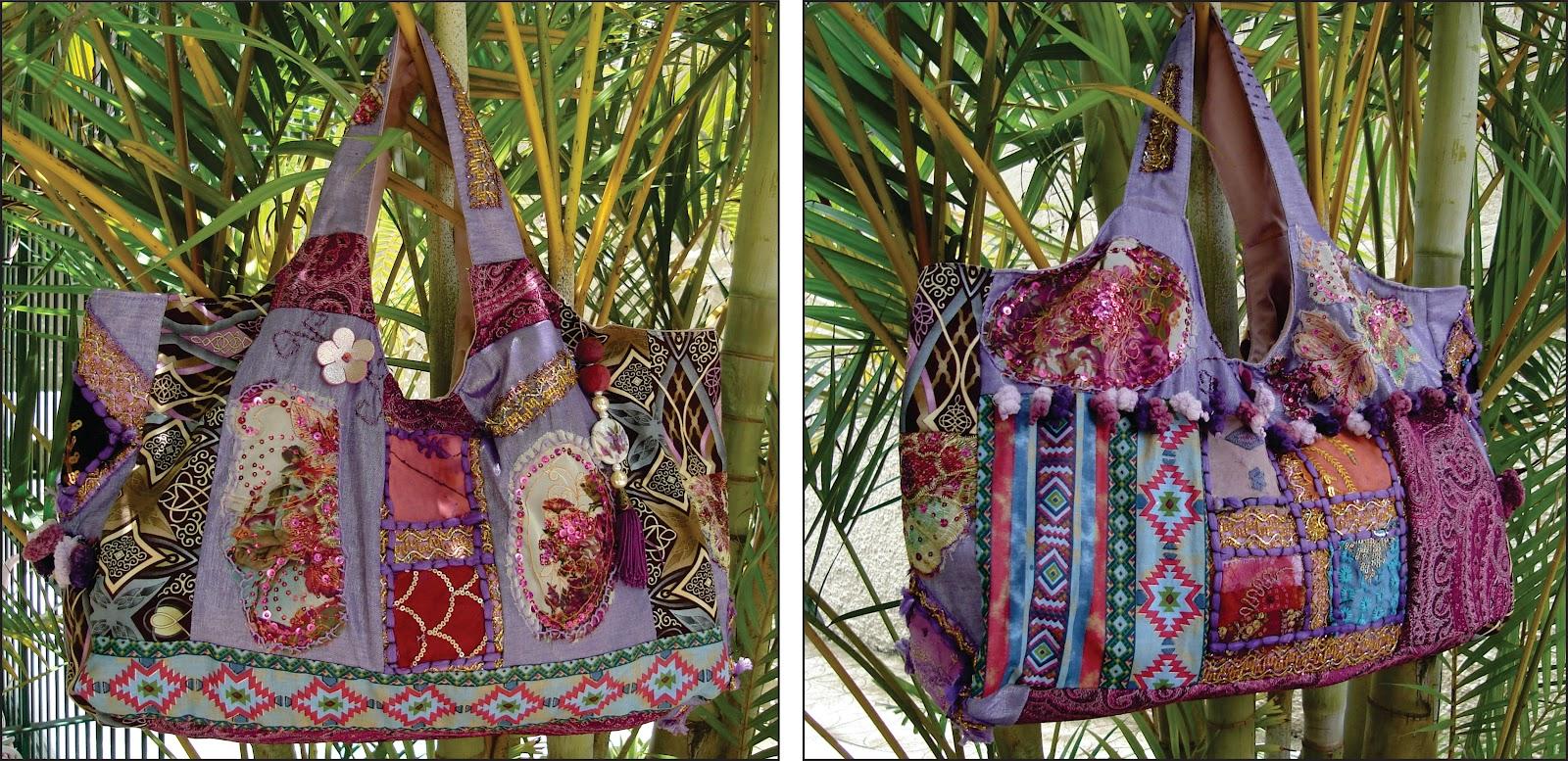 defec2032 Para a criação das bolsas procuro sempre utilizar tecidos de brechó, que  garimpo, por toda cidade, com tecidos novos que remetem a cultura hippie.