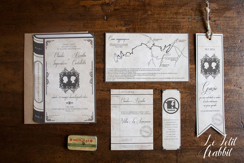 Partecipazioni Matrimonio Stile Vintage.Partecipazione Matrimonio Libro Vintage Le Petit Rabbit