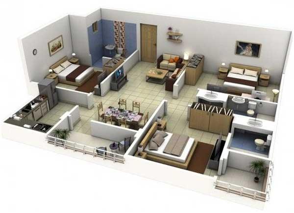 www.denah rumah 3 kamar tidur 3 dimensi