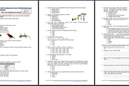 Soal Tematik Kelas 3 Semester 1 Tema 1 Subtema 1 - Pertumbuhan dan Perkembangan Makhluk Hidup - Ciri-Ciri Makhluk Hidup Terbaru