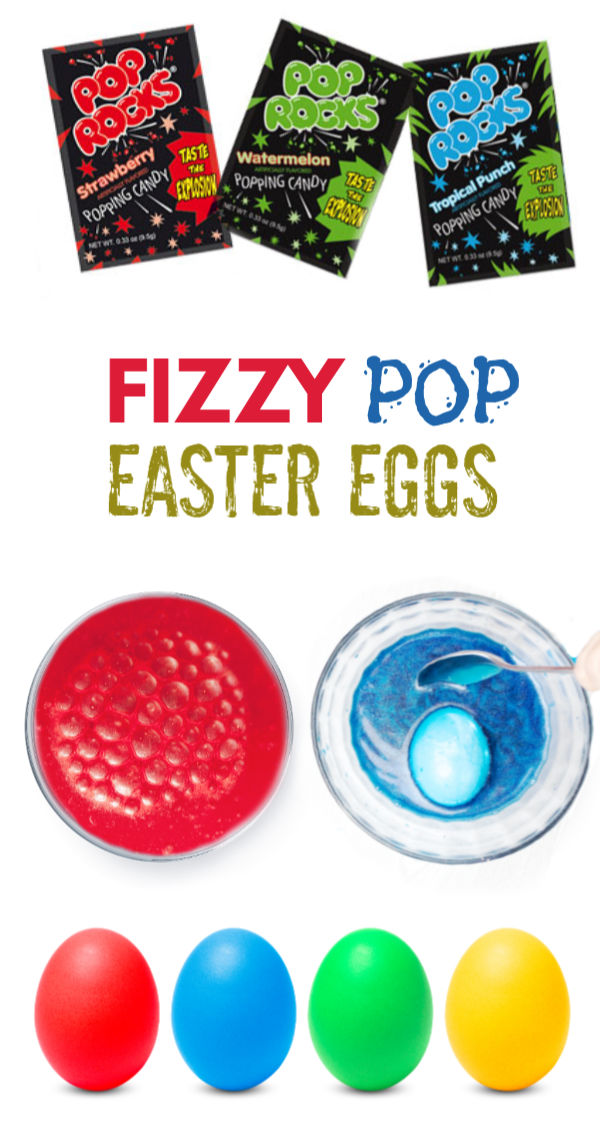 Dye Easter eggs using Pop Rocks!  These eggs fizz & pop as they change colors before your eyes- a must try Easter activity for kids! #poprocks #fizzyeggs #fizzyeggdye #howtodyeeggs #fizzingeastereggs #fizzingeggs #fizzyeggexperiment #eggdecoratingideascreative #eggdye #eastereggdyeideas #easteractivitieskids