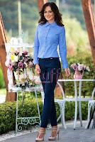 Pantaloni eleganti conici bleumarin din bumbac