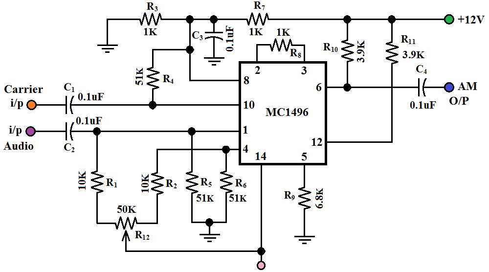 fig1 circuit diagram of am modulation